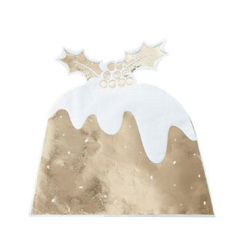 Gold Christmas Pudding Napkins